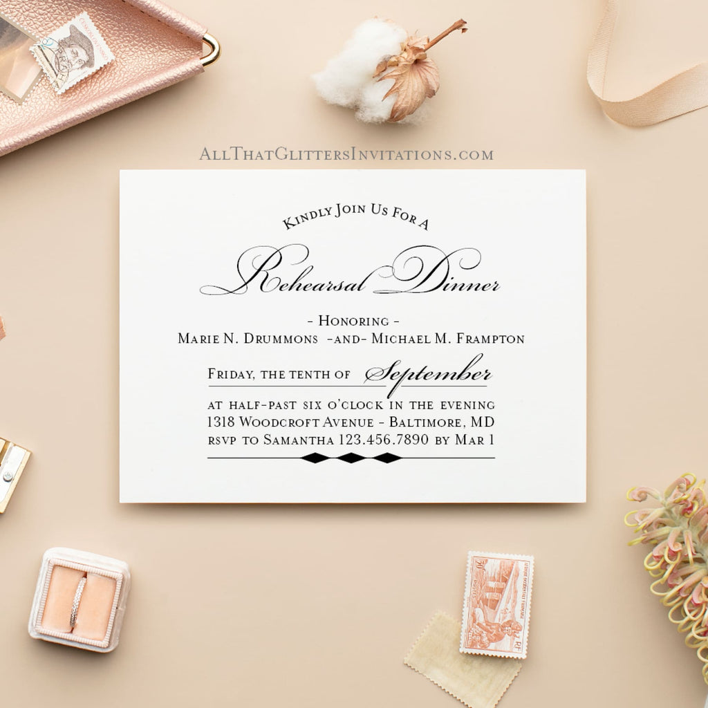 Simple + Modern Rehearsal Dinner Invitation - All That Glitters Invitations