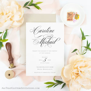 Simplistic Modern Elegance, Caroline + Michael - All That Glitters Invitations