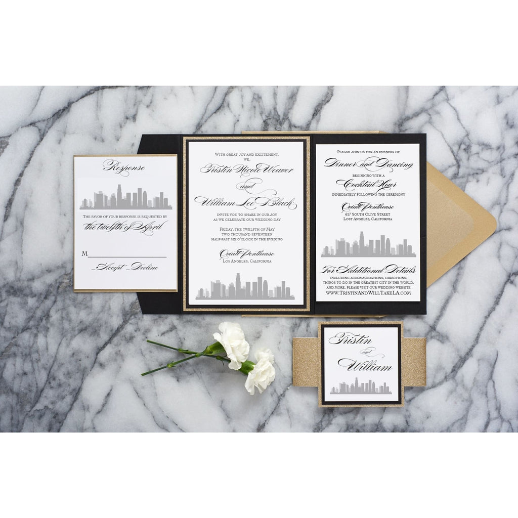 Skyline Wedding Invitation, Tristin - All That Glitters Invitations