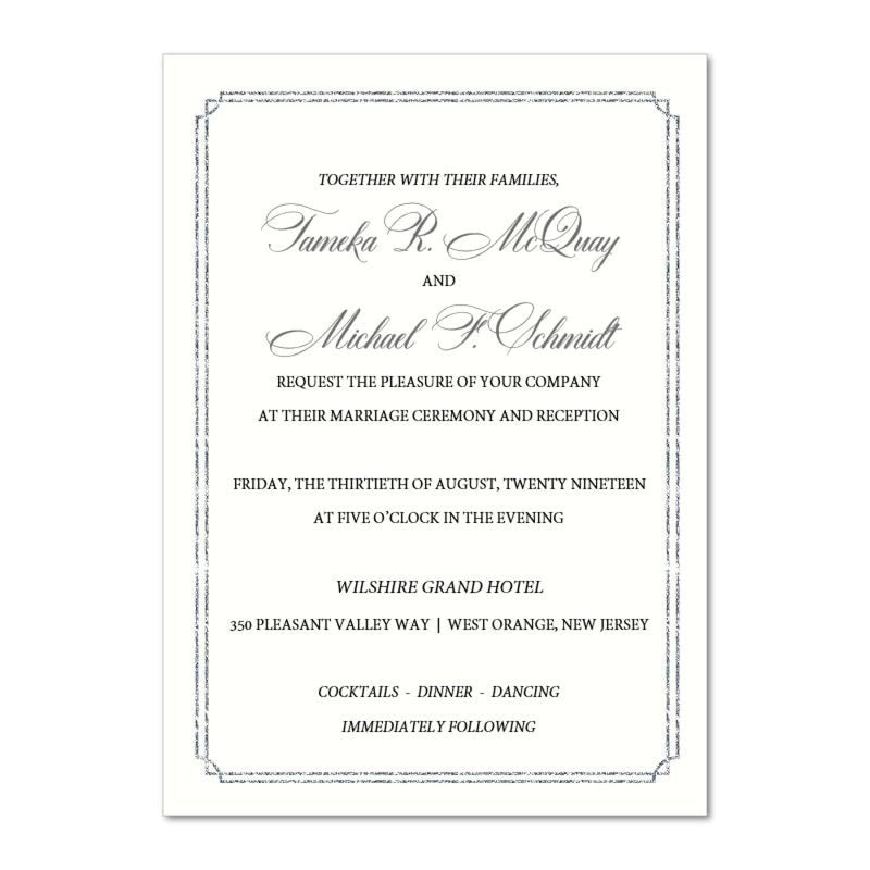 Sparkling Border Wedding Invitation, Tameka - All That Glitters Invitations