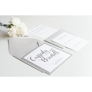 Square Glitter Wedding Invitation, Cassidy - All That Glitters Invitations