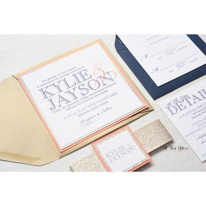 Square Modern Wedding Invitation, Kylie - All That Glitters Invitations