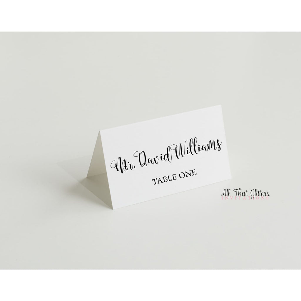 Tented Wedding Reception Place Cards - All That Glitters Invitations