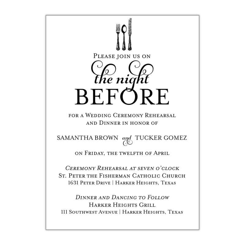 The Night Before Rehearsal Dinner Invitation - All That Glitters Invitations
