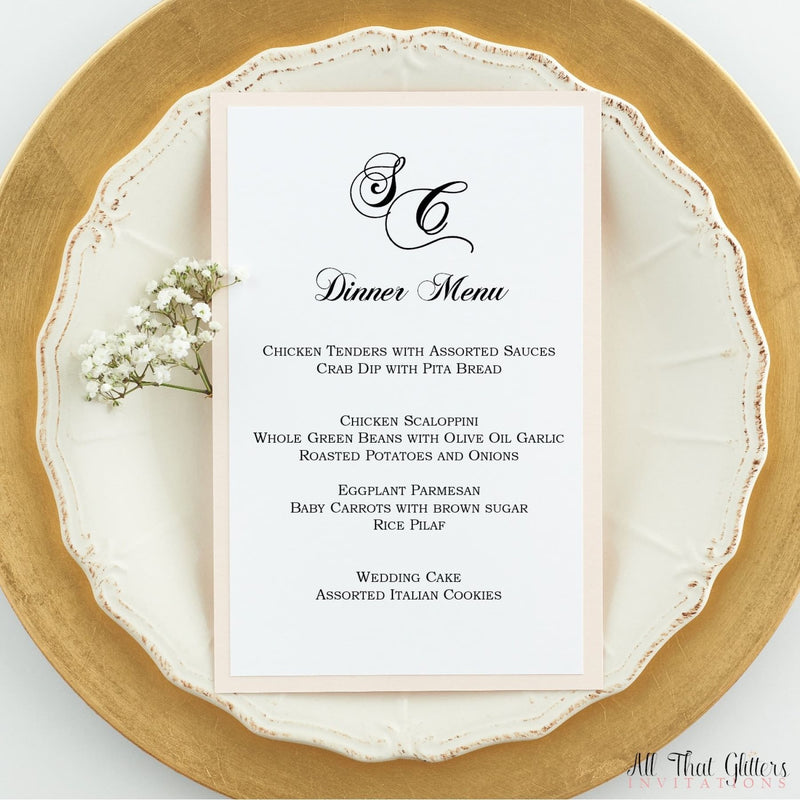 Ultra Formal Wedding Reception Menu, stefanie - All That Glitters Invitations