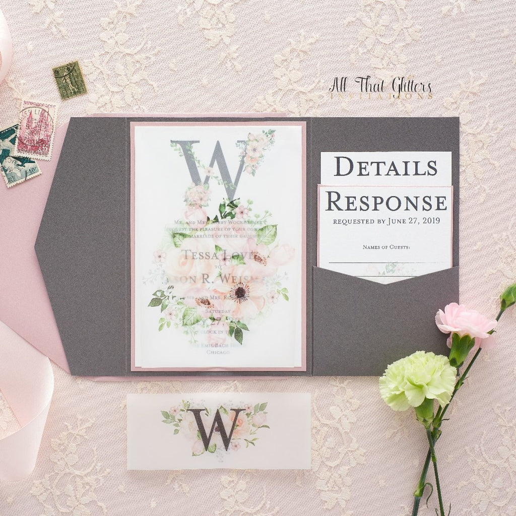 Vellum Floral Wedding Invitation, Tessa - All That Glitters Invitations