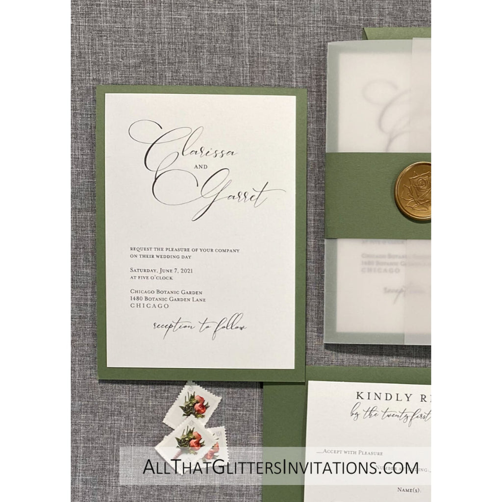 Vellum Jacket & Wax Seal Wedding Invitation - All That Glitters Invitations