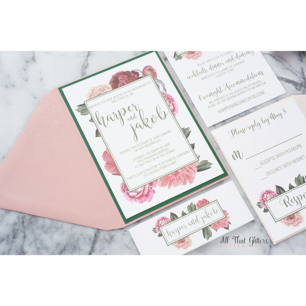 Vintage Floral Wedding Invitation, Harper - All That Glitters Invitations