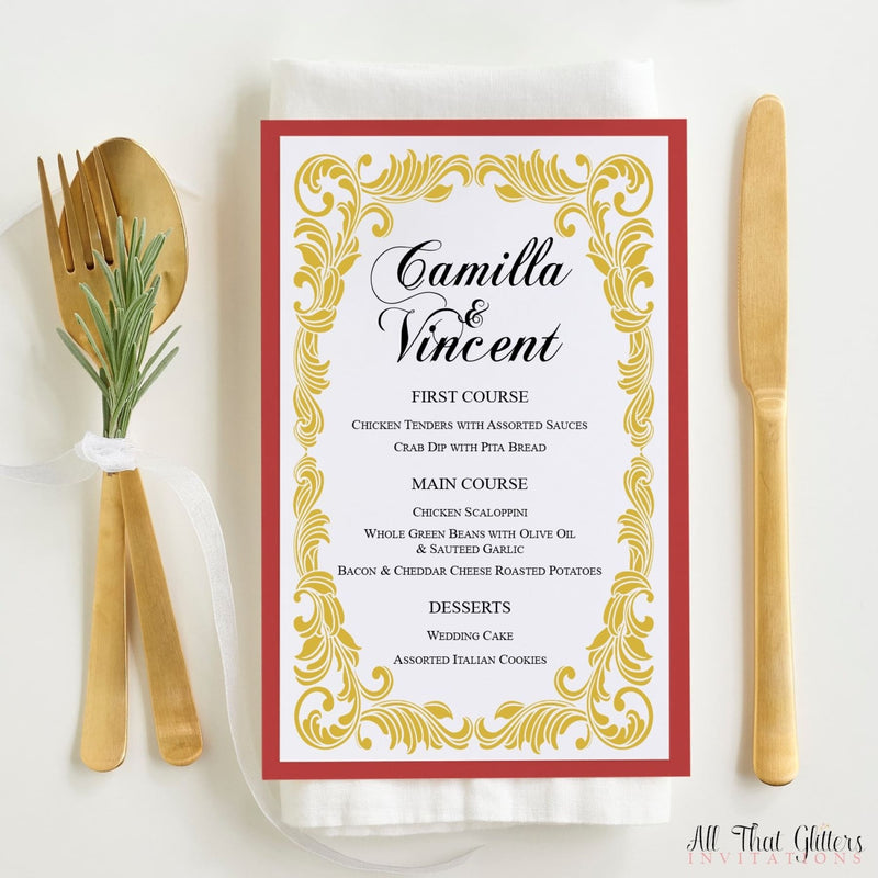 Vintage Wedding Reception Dinner Menu, Camilla - All That Glitters Invitations