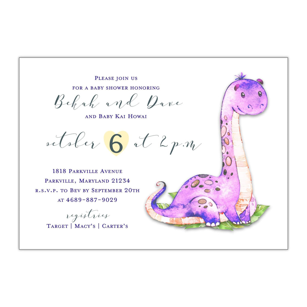 Watercolor Dinosaur | Baby Shower Invitation - All That Glitters Invitations