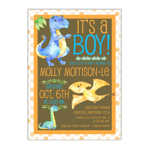 Watercolor Dinosaurs | Baby Shower Invitation - All That Glitters Invitations