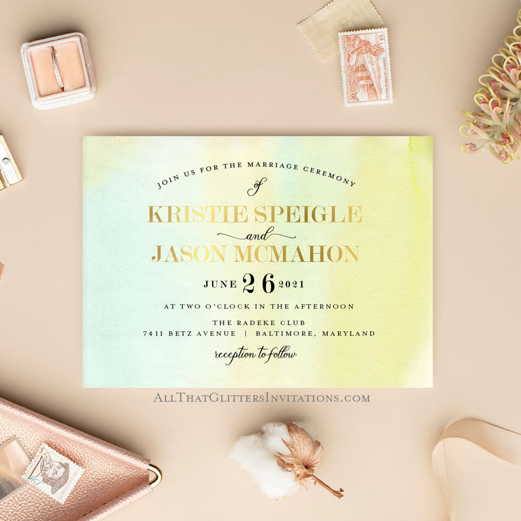 Watercolor Modern Wedding Invitation - All That Glitters Invitations