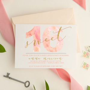 Watercolor Sweet 16 - All That Glitters Invitations