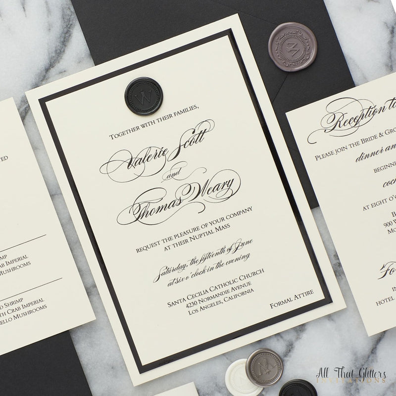 Wax Seal Wedding Invitation, Valerie - All That Glitters Invitations
