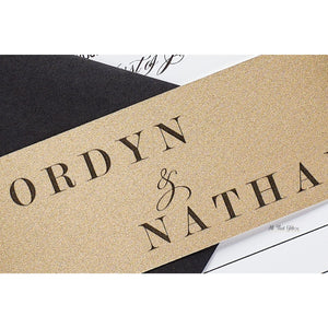 Wedding Invitation with Printed Glitter Band, Jordyn - All That Glitters Invitations