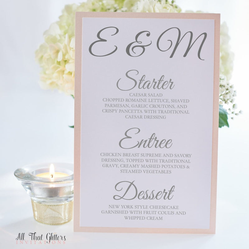 Wedding Reception Dinner Menu, Evelyn 2 - All That Glitters Invitations