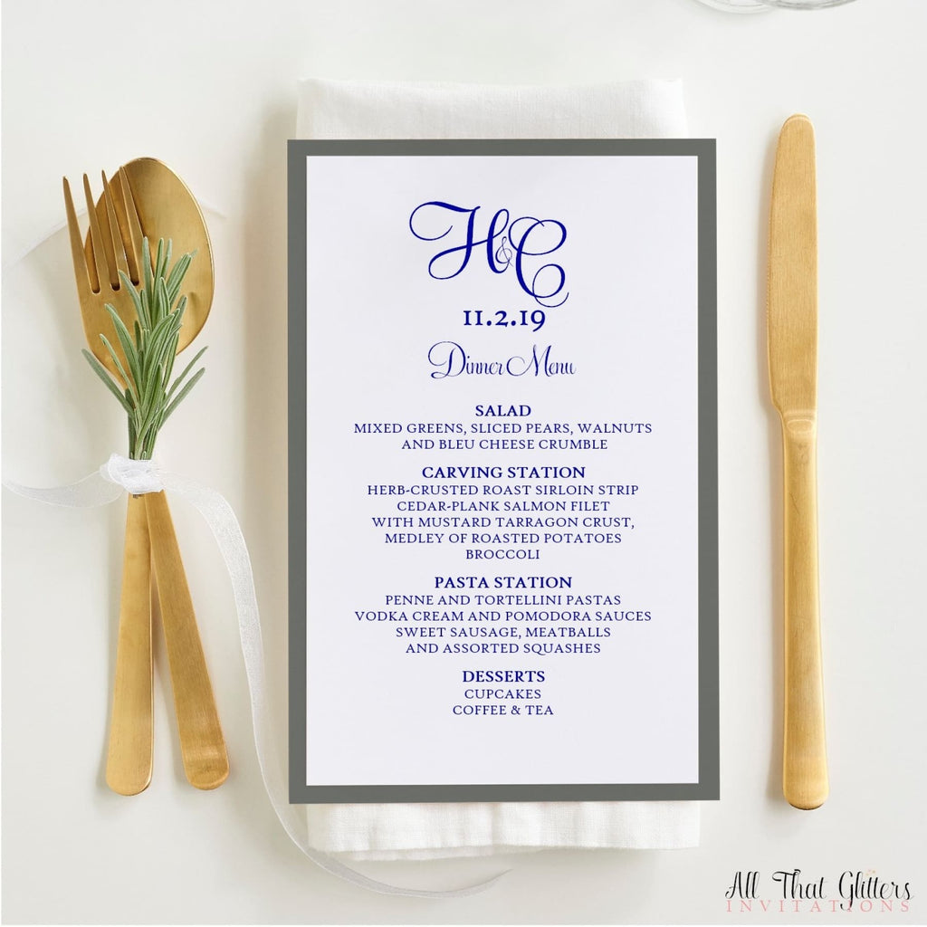 Wedding Reception Dinner Menu, Hayley - All That Glitters Invitations