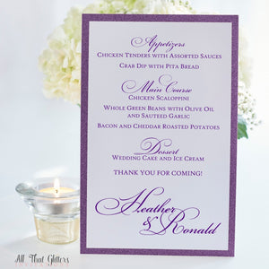 Wedding Reception Dinner Menu, Heather - All That Glitters Invitations