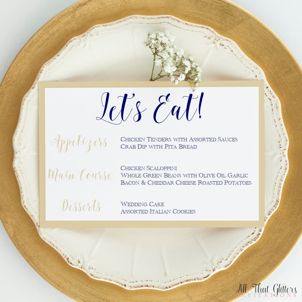Wedding Reception Dinner Menu, Jasmine - All That Glitters Invitations