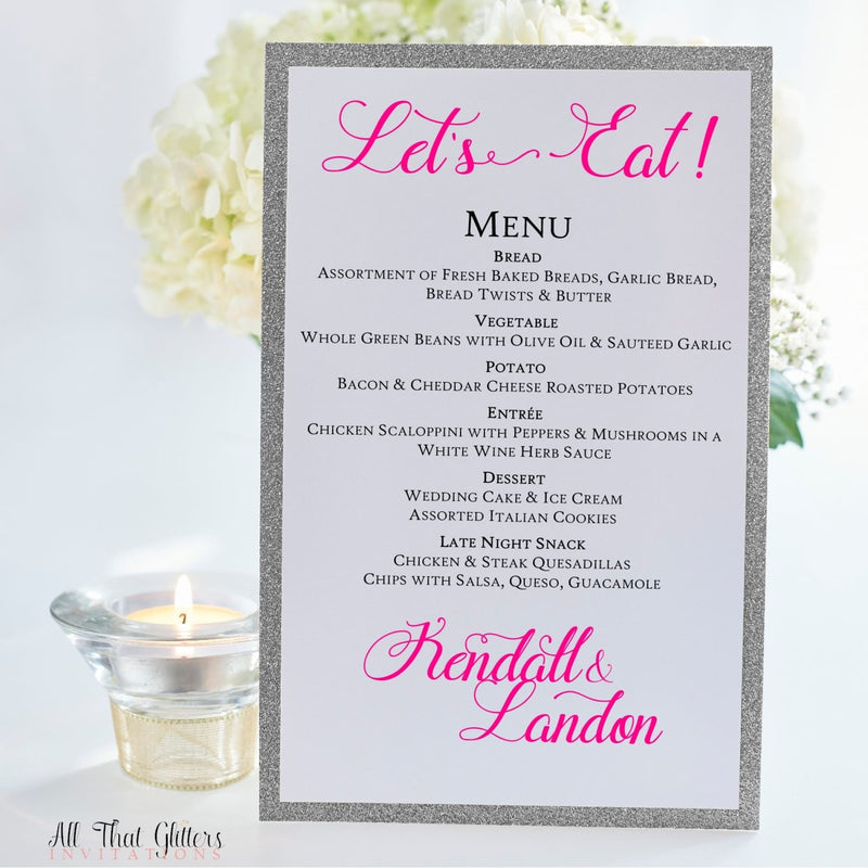 Wedding Reception Dinner Menu, Kendall - All That Glitters Invitations