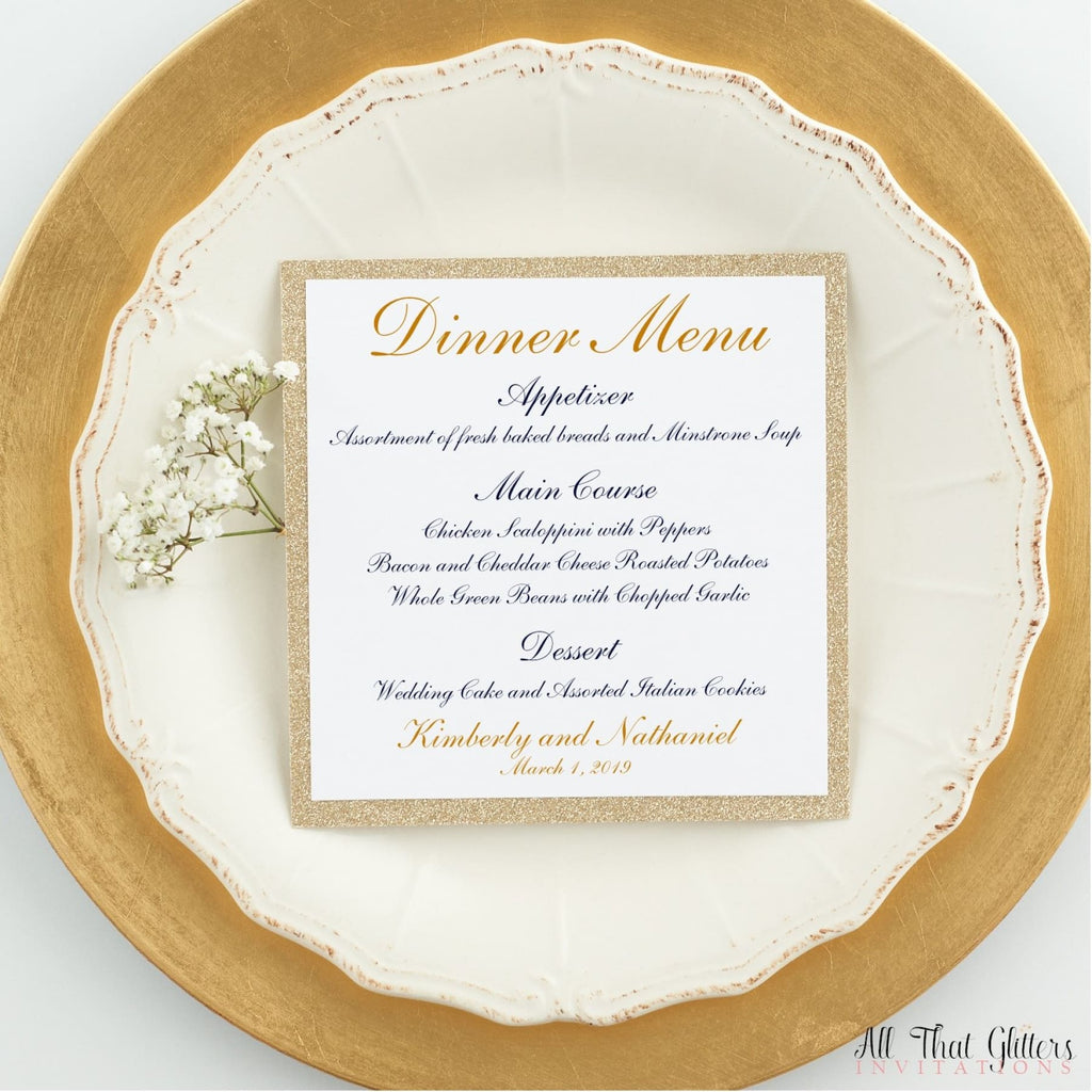 Wedding Reception Dinner Menu, Kimberly - All That Glitters Invitations