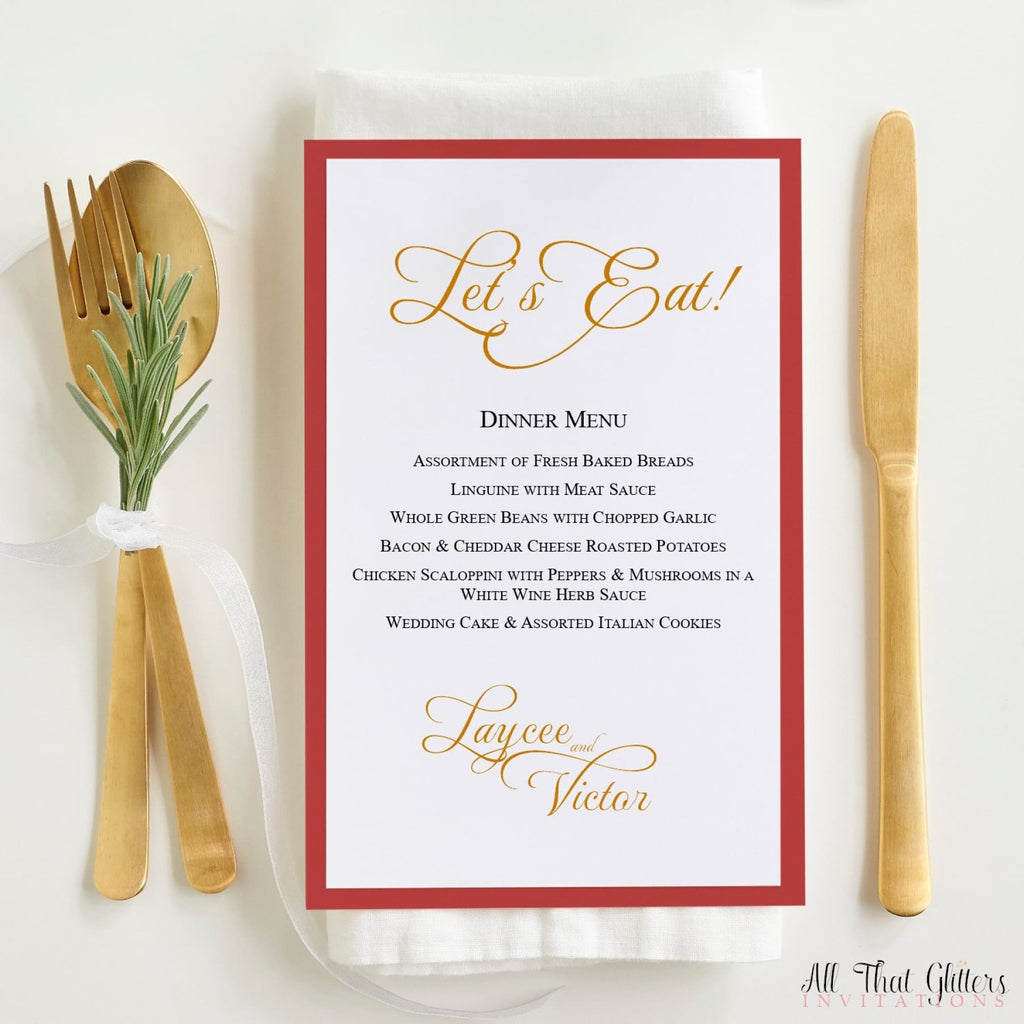 Wedding Reception Dinner Menu, Laycee - All That Glitters Invitations