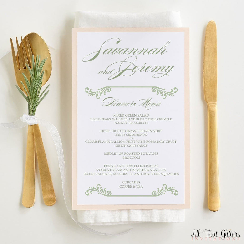 Wedding Reception Menu, Savannah - All That Glitters Invitations