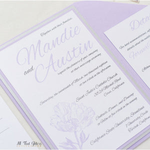 Whimsical Peony Wedding Invitation, Mandie - All That Glitters Invitations