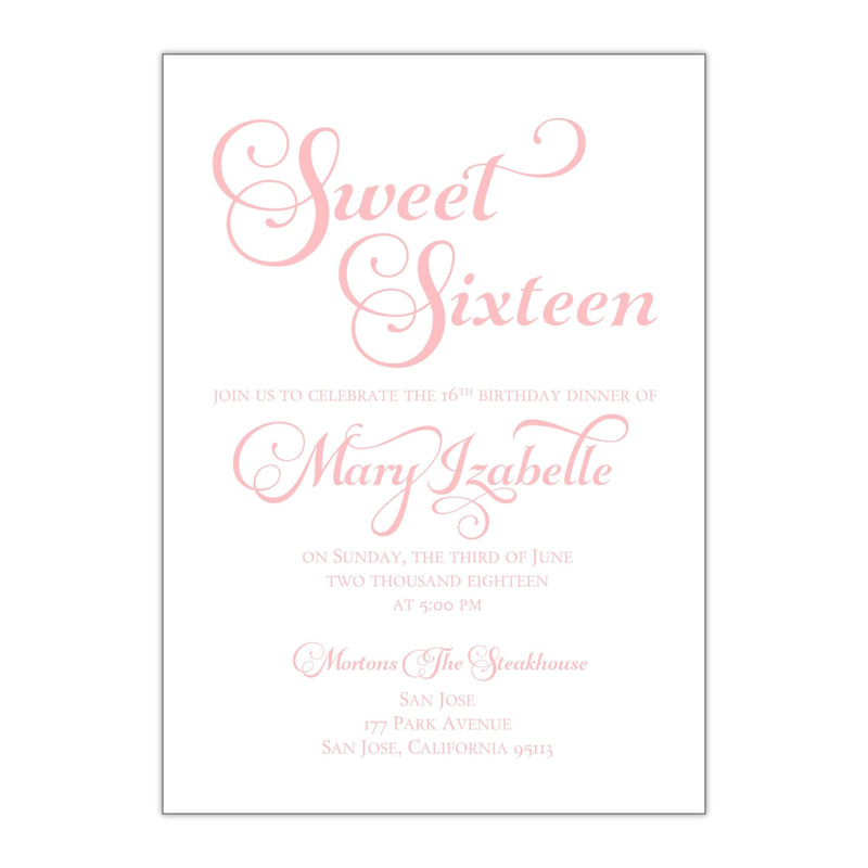 Whimsical Sweet 16 Invitation - All That Glitters Invitations