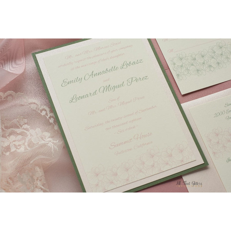 Whimsical Wedding Invitation with Flowers, Emily - All That Glitters Invitations