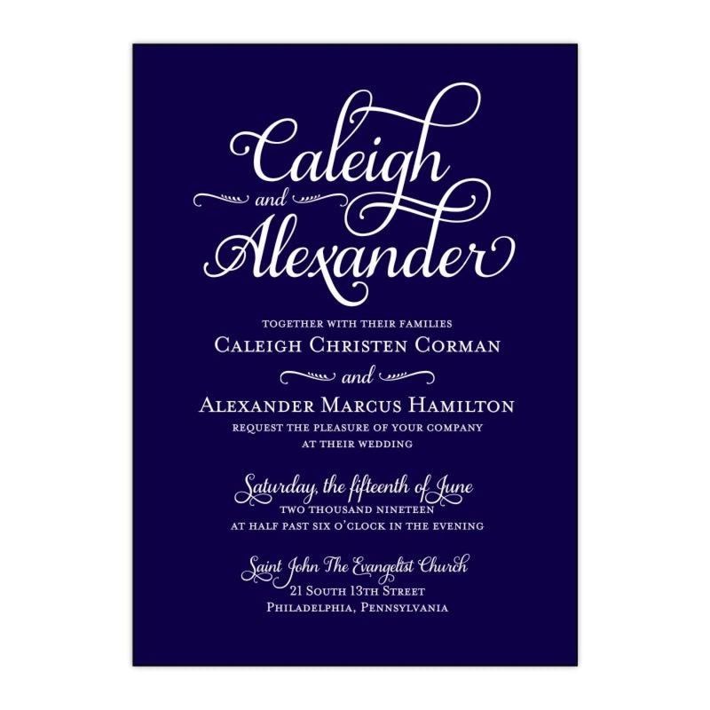 White Text on Navy Wedding Invitation - All That Glitters Invitations