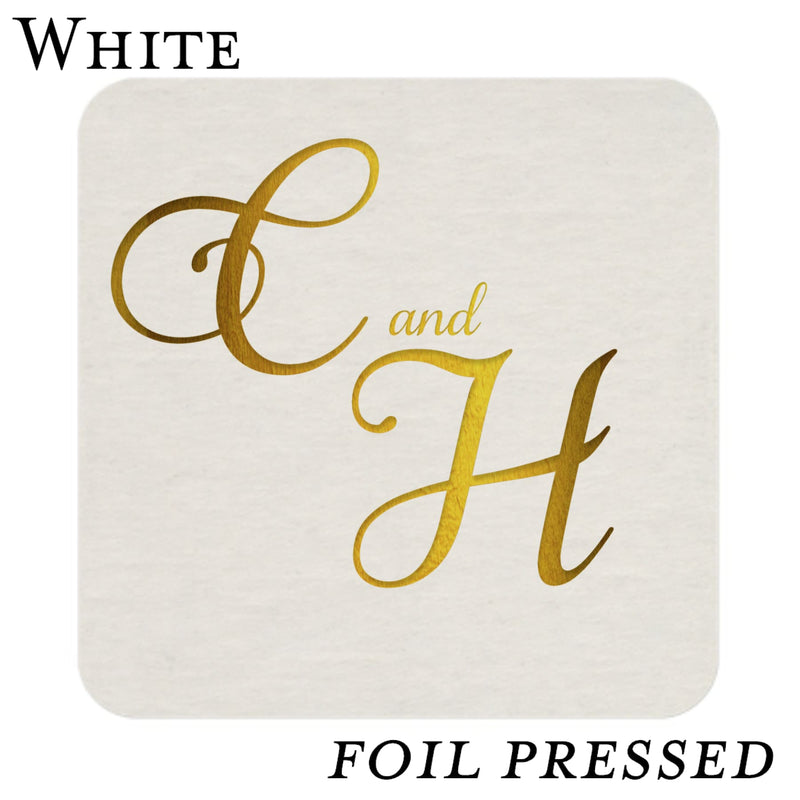 White Wedding Reception Coasters-Foil Pressed - All That Glitters Invitations