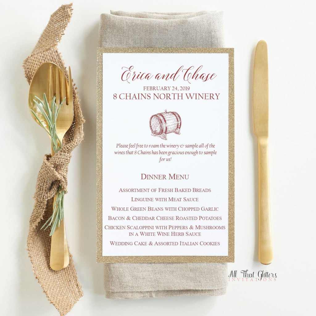 Wine-Themed Wedding Reception Dinner Menu, Erica - All That Glitters Invitations