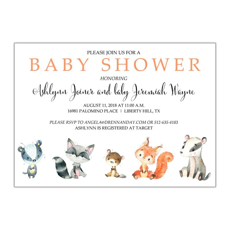 Woodland Creatures Baby Shower Invitation - All That Glitters Invitations