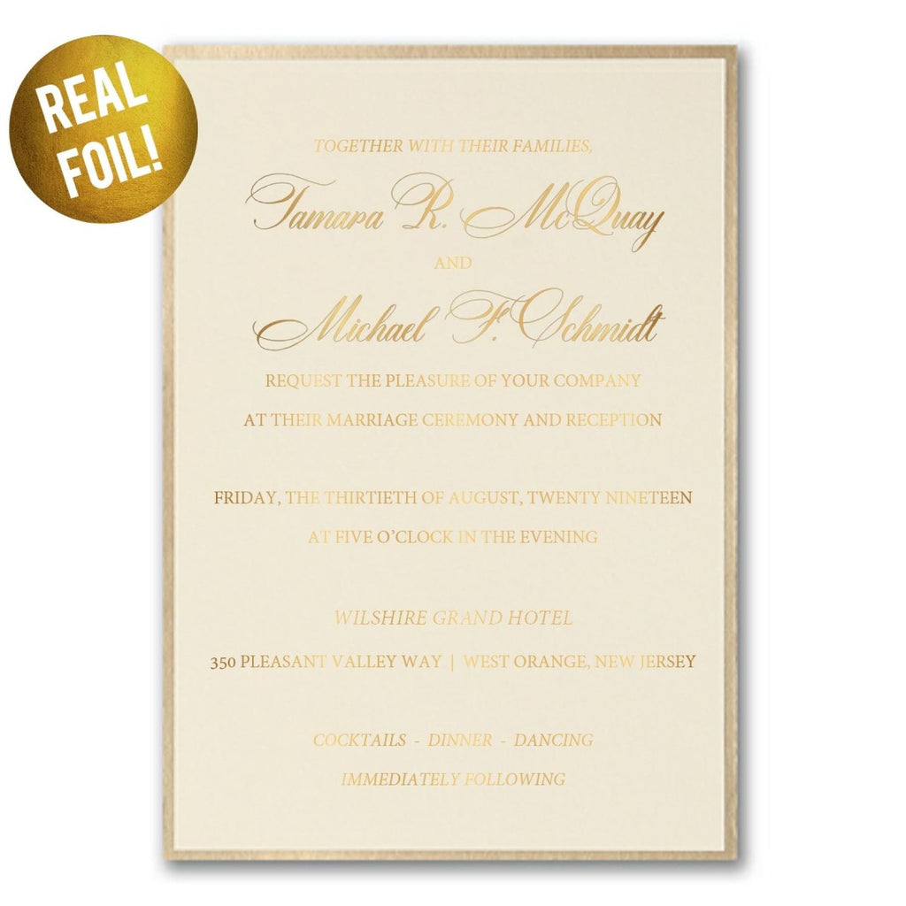 XL Fancy Foil Border Wedding Invitation - All That Glitters Invitations