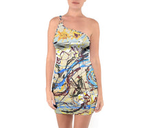 One Shoulder Ring Trim Bodycon Dresses (Expressive Abstract)