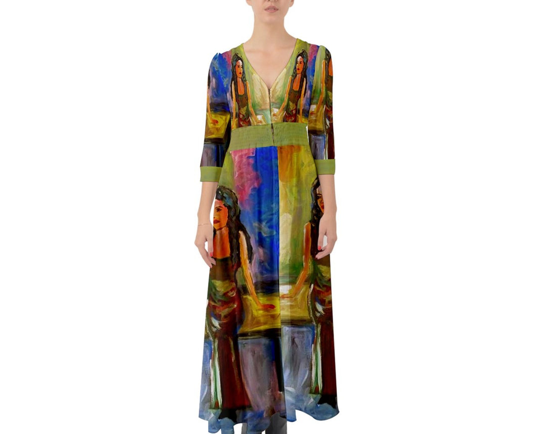 Button Up Boho Maxi Dresses (Femininity)