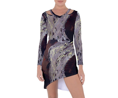 Asymmetric Cut-Out Shift Dresses (Expressive Abstract)