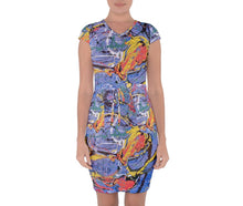 Cap Sleeve Draw String Dresses (Expressive Abstract)