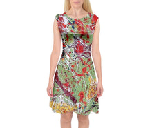 Cap Sleeve Midi Dresses (Expressive Abstract)