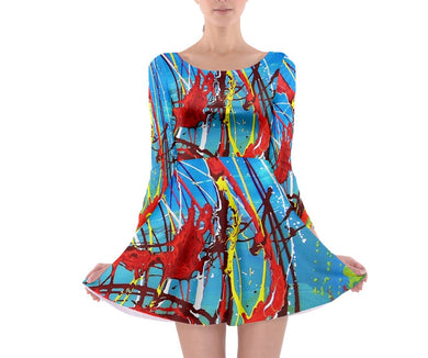 Long Sleeve Skater Dresses (Expressive Abstract)