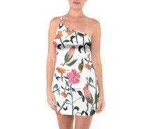 One Shoulder Ring Trim Bodycon Dresses (Floral)
