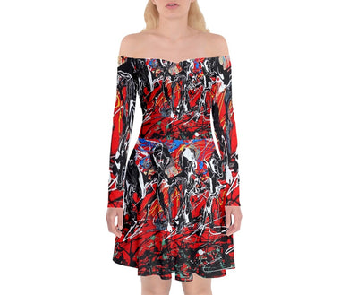 Off Shoulder Skater Dresses (Expressive Abstract)