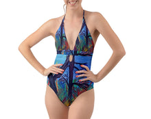 Halter Cut-Out One Piece Swimsuit (Aura)