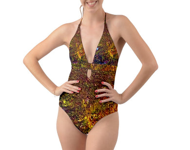 Halter Cut-Out One Piece Swimsuit (Bohemian)