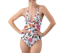 Halter Cut-Out One Piece Swimsuit (Floral)
