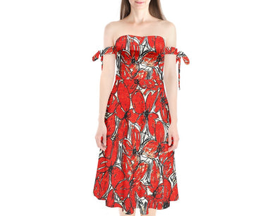 Shoulder Tie Bardot Midi Dress (Floral)