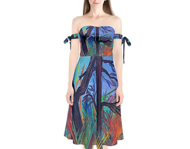 Shoulder Tie Bardot Midi Dress (Aura)