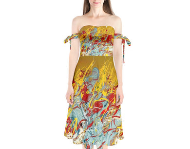 Shoulder Tie Bardot Midi Dress (Expressive Abstract)
