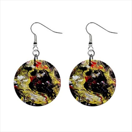 Bohemian Button Earrings (Expressive Abstract)